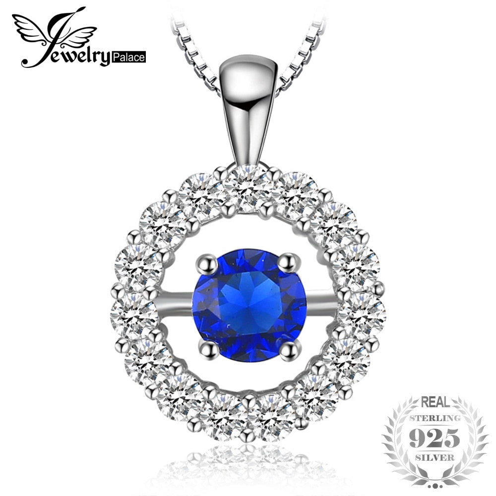 1ct Round Created Sapphire Halo Pendant Necklace 925 Sterling Silver 45cm Chain Necklace & Pendant Women Jewelry