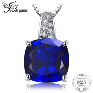 4.39ct Square Blue Sapphire Pendant Necklace 925 Sterling Silver Necklace Chain For Women Luxury Brand Jewelry New