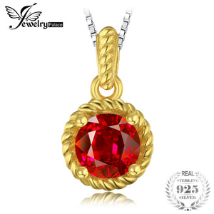 Classic 1.17ct Created Ruby 925 Sterling Silver Gold-plated Necklace Pendan For Women Wedding Brand Fine Jewelry
