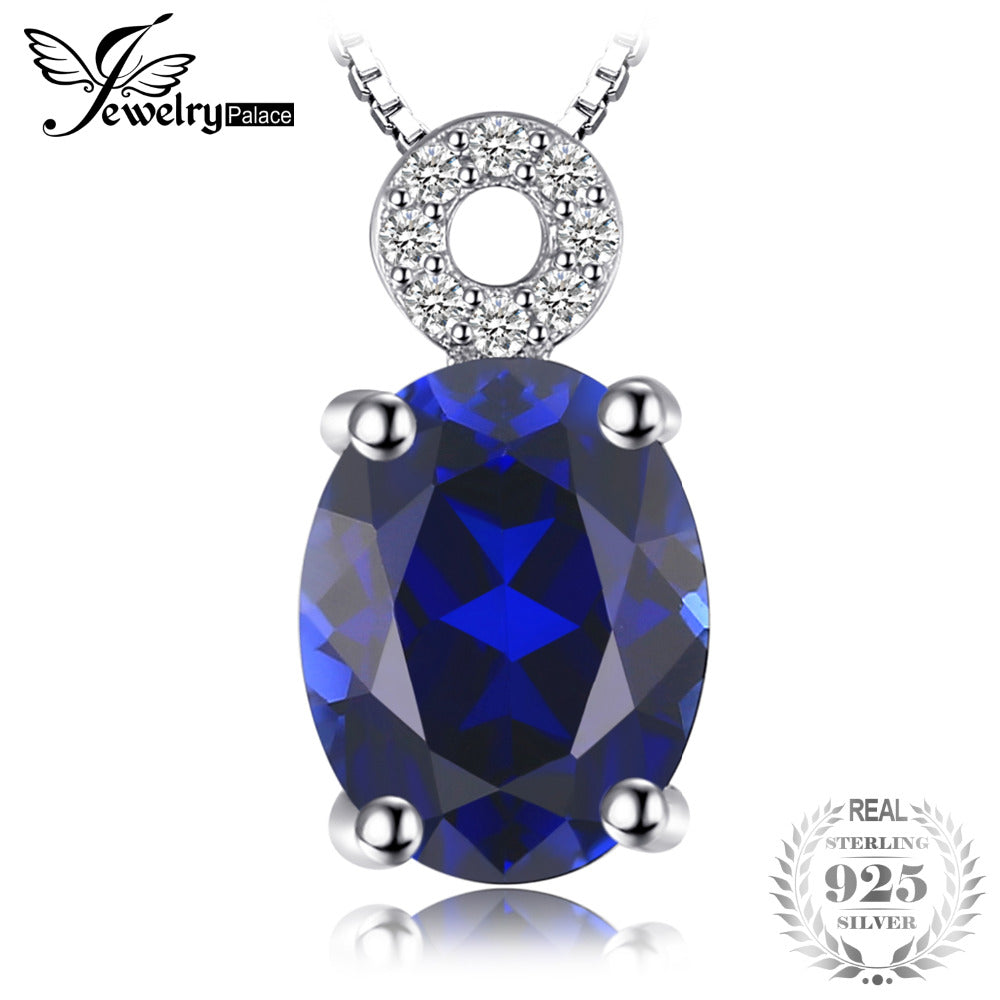 Classic 2.6ct Oval Created Sapphire Pendant Necklace S925 Sterling Silver Jewelry 45cm Chain Necklace For Women