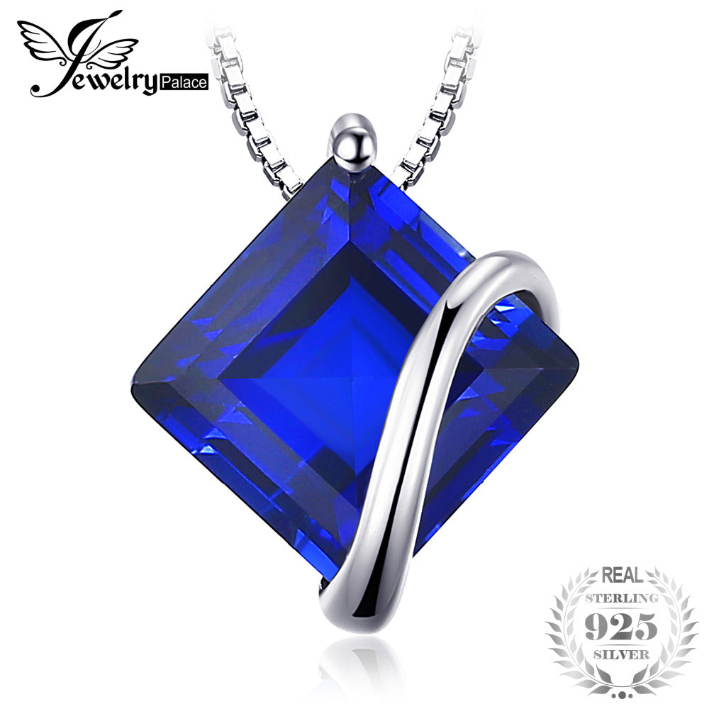 Classic 3.3ct Square Created Sapphire Necklaces Pendant 925 Sterling Silver Charms With 45cn Chain Fine Jewelry