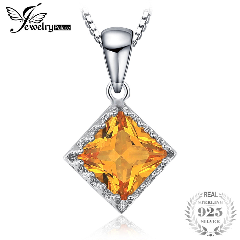 Classic Square 1.4ct Yellow Created Sapphire Pendants Necklaces 925 Sterling Silver Box Chain Women Fine Jewelry