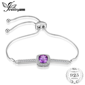 Elegant 2.43ct Created Alexandrite Sapphire Cubic Zirconia Halo Adjustable Bracelets For Women 925 Sterling Silver