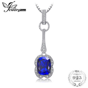 Elegant Rectangle 2.9ct Created Blue Sapphire Pendant Necklace 925 Sterling Silver 45cm Box Chain Charm Jewelry