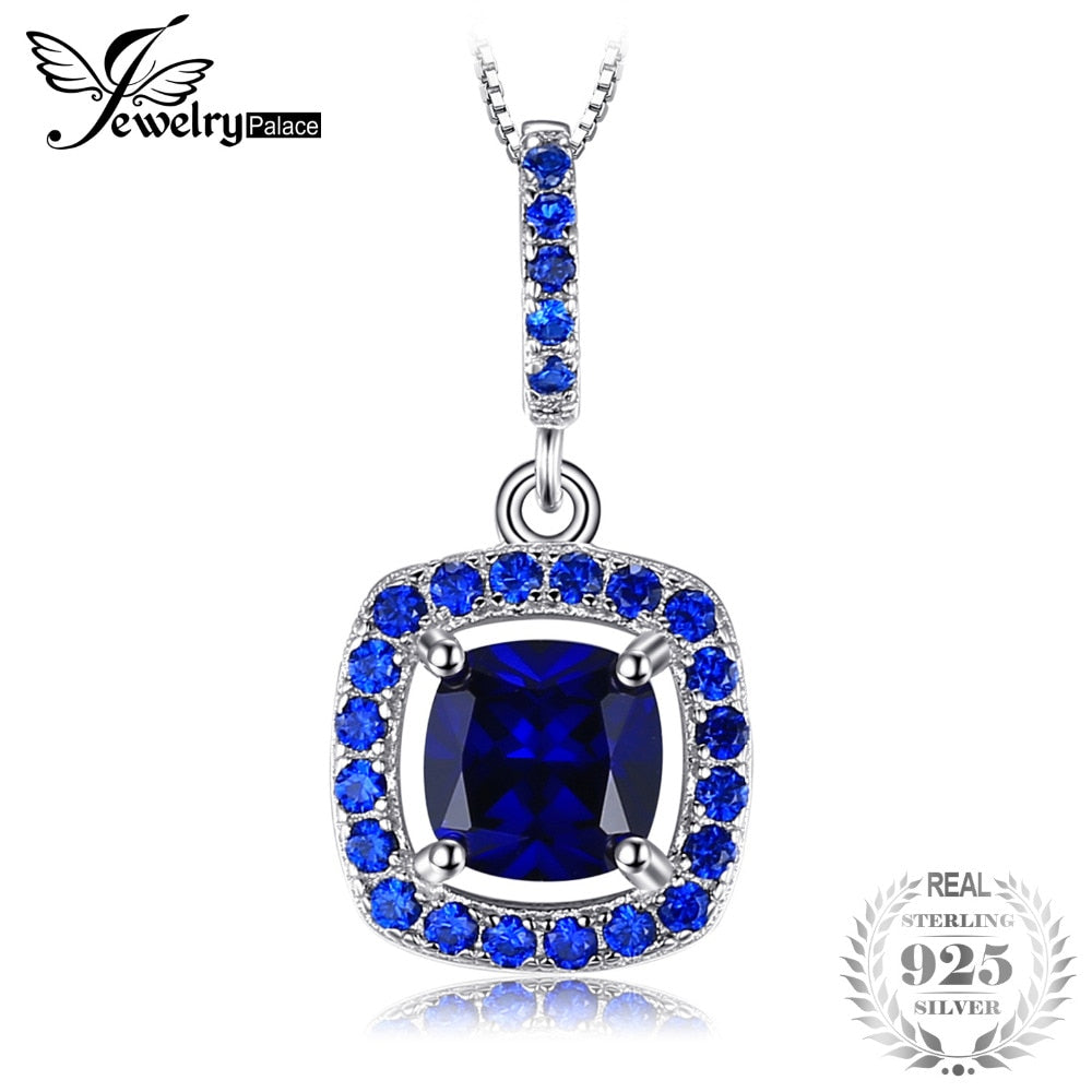 Fashion 1.96ct Square Created Sapphire Blue Spinel Necklaces Pendant 925 Sterling Silver 45cm Chain Fine Jewelry