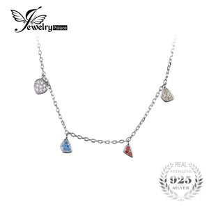 Fashion Multicolor Dangling Charms Chain Choker Necklace Solid 925 Sterling Silver Gifts For Women Fashion Jewelry