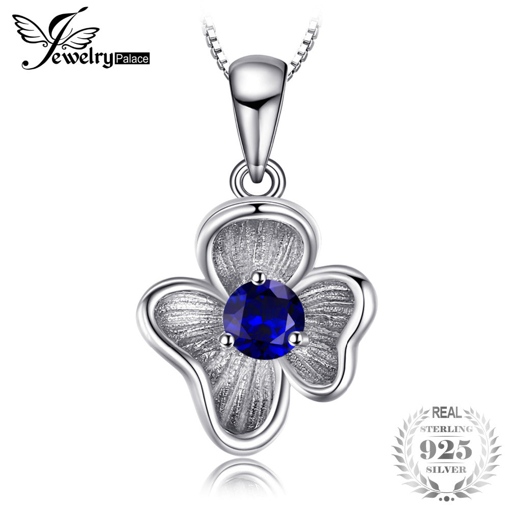 Flower 0.34 ct Created Blue Sapphire 925 Sterling Silver 45cm Box Chain Necklaces Pendants For Women Fine Jewelry