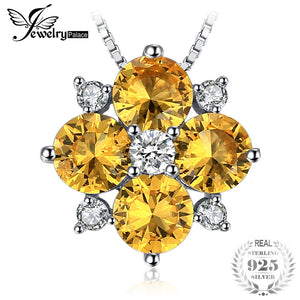 Flower 2.2ct Created Yellow Sapphire Necklaces & Pendants 925 Sterling Silver Box Chain 45cm Fashion Fine Jewelry