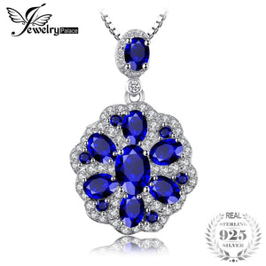 Flower 2.6ct Created Sapphire Spinel Pendants Necklaces For Women Charm 925 Sterling Silver Box Chain Jewelry