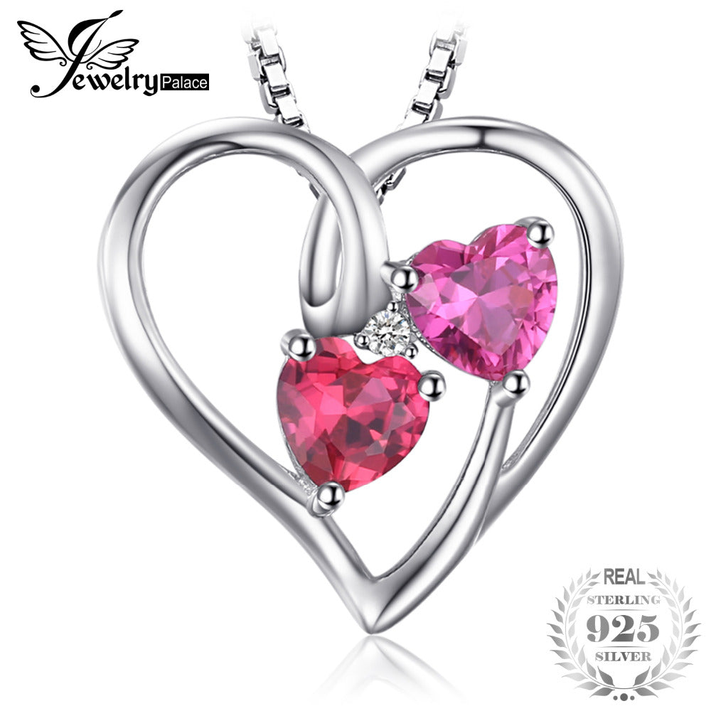 Love 1.2ct Heart Created Ruby Pink Sapphire Necklaces & Pendant 925 Sterling Silver Wedding Fine Jewelry For Women