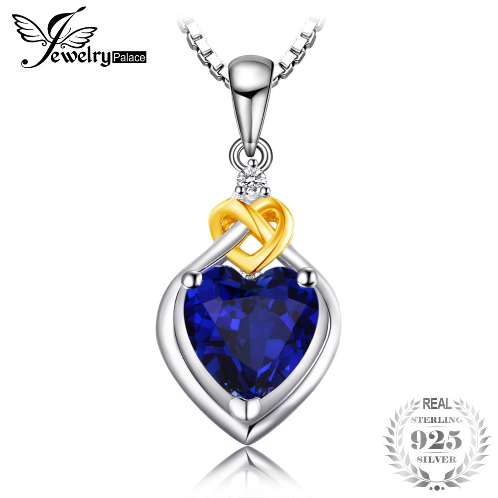 Love Heart 2.5ct Created Sapphire Pendant Necklace 100% 925 Sterling Silver 45cm Box Chain Woman Fine Jewelry