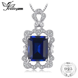 Luxry 4.3ct Created Sapphire Pendant Necklace 925 Sterling Silver Include a 45cm Chain For Women Fine Jewelry