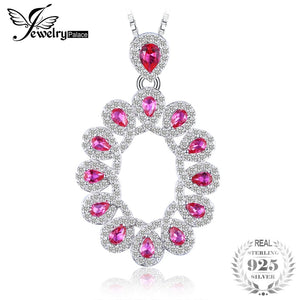 Luxury 2.9ct Created Ruby Cluster Pendant Necklace 925 Sterling Silver Necklace For Women Gift the chain is 18inch