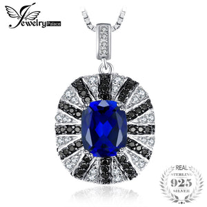 Luxury 6ct Blue Created Sapphire Black Spinel Solid 925 Sterling Silver Pendant Necklace 45cm Chain Necklace
