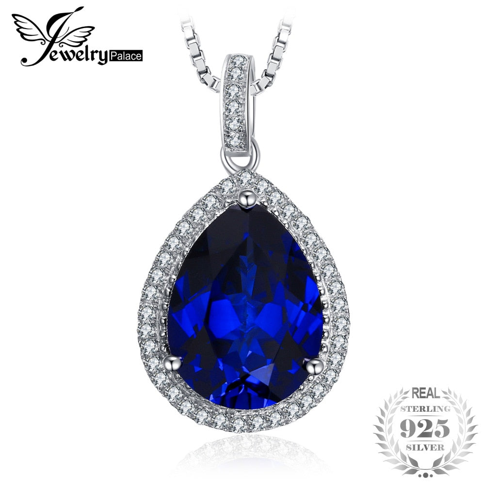 Luxury Pear Cut 10.9ct Blue Created Sapphire Solid 925 Sterling Silver Pendant Necklace 18 inches for Women