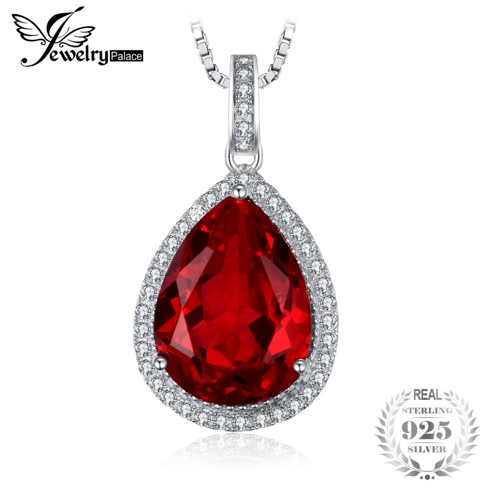 Luxury Pear Cut10.9ct Red Created Ruby Solid 925 Sterling Silver Pendant Necklace With 45cm Chain for Women
