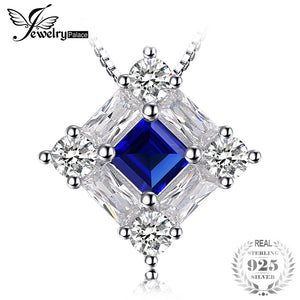 Octagonal 1.7ct Blue Lab Created Sapphire Pendant Necklaces For Woman Genuine 925 Sterling Silver 45cm Box Chain
