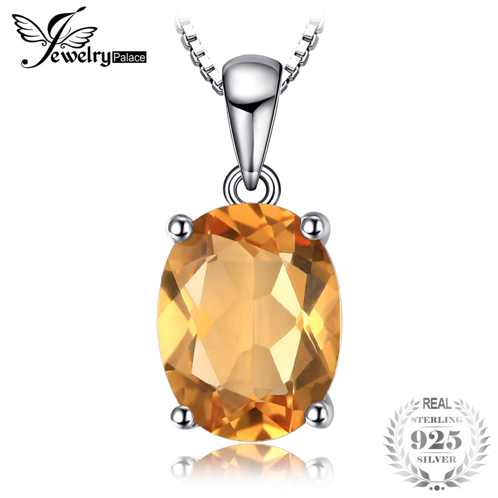 Oval 1.7ct Natural Citrine Birthstone Solitaire Pendant Necklace Solid 925 Sterling Silver 45cm chain Fine Jewelry