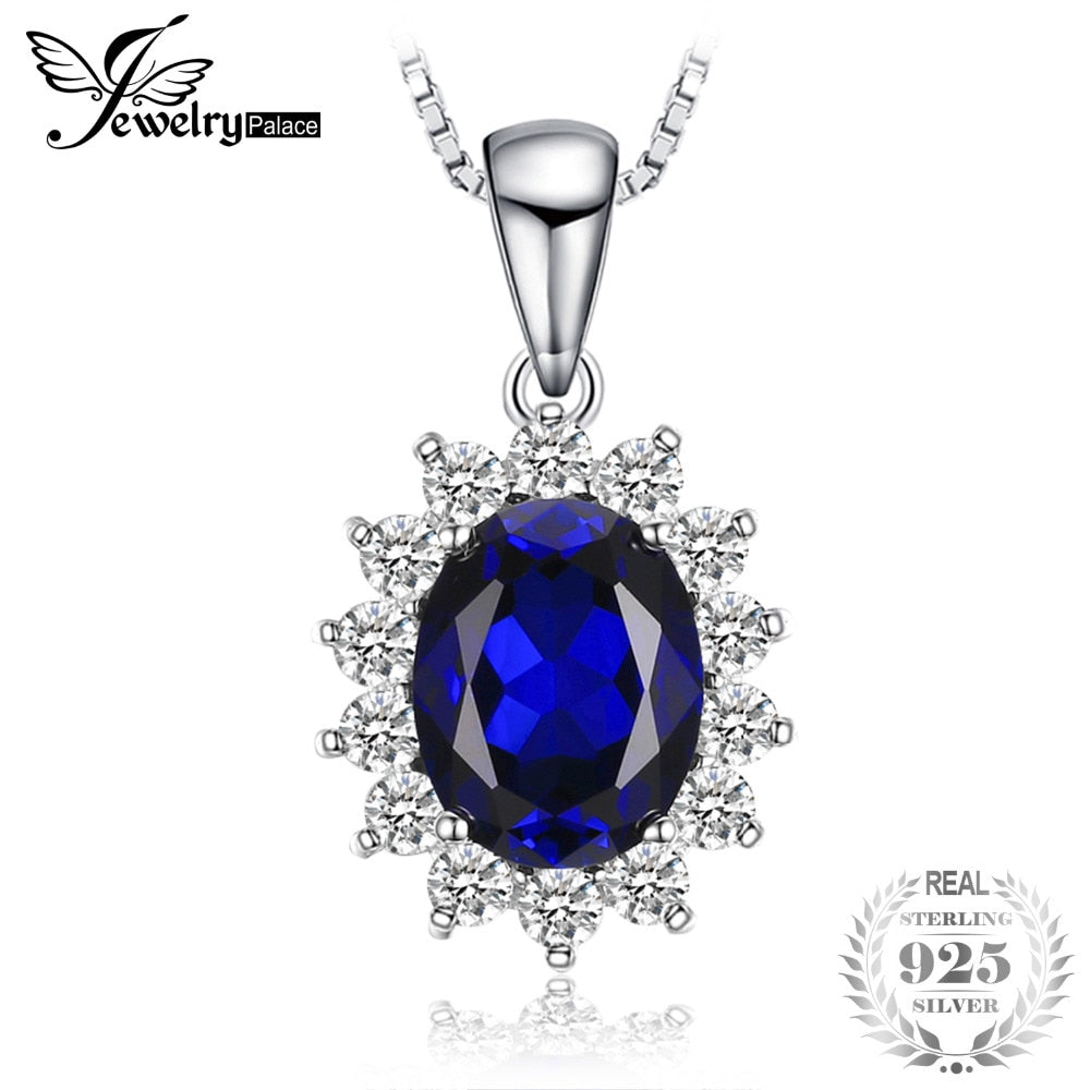 Oval 3.2ct Princess Diana William Kate Middleton's Created Blue Sapphire Pendant 925 Sterling Silver Chain 45cm
