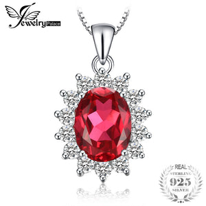 Oval 3.2ct Princess Diana William Kate Middleton's Red Create Ruby Pendant 925 Sterling Silver Necklace 45cmChain