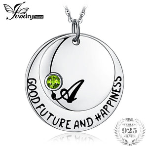 Personalized Good Future Happiness Birthstone 0.1ct Created Ruby Pendant 925 Sterling Silver For Women