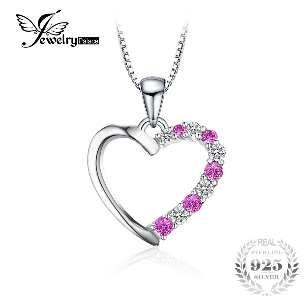 Romantic 0.6ct Created Pink Sapphire Heart Necklaces & Pendants 925 Sterling Silver Include 45cm Chain For Women