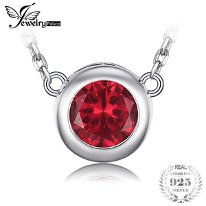 Solitaire 1.8ct Round Created Ruby Necklace 925 Sterling Silver Fine Jewelry 45cm Box Chain Necklace For Women