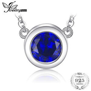 Solitaire 1.8ct Round Created Sapphire Necklace For Wife S925 Sterling Silver Jewelry Birthd Gift 45cm Box Chain