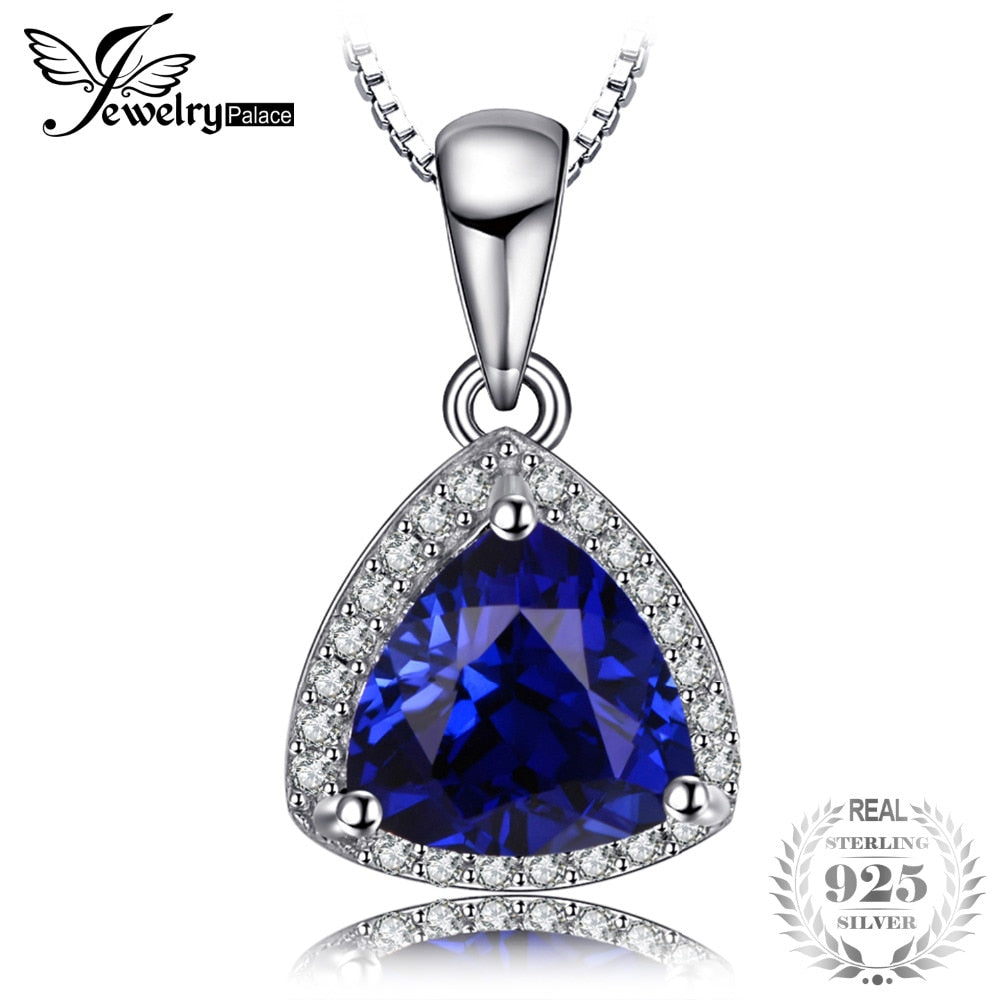 Triangle 2.65ct Created Blue Sapphire Necklaces Pendants 925 Sterling Silver Box Chain 45cm Fine Jewelry For Women