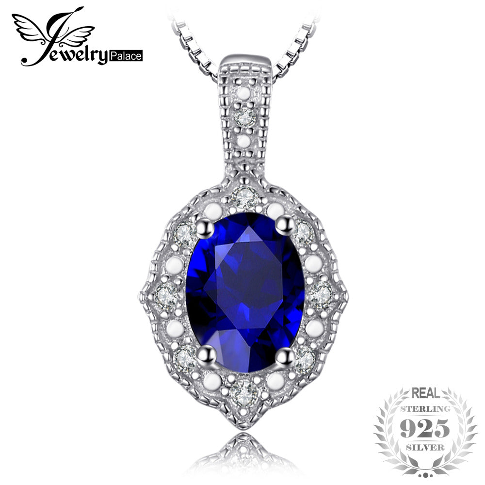 Vintage 1.9ct Created Sapphire Necklaces & Pendants For Women 100% 925 Sterling Silver 45cm Box Chain Fine Jewelry