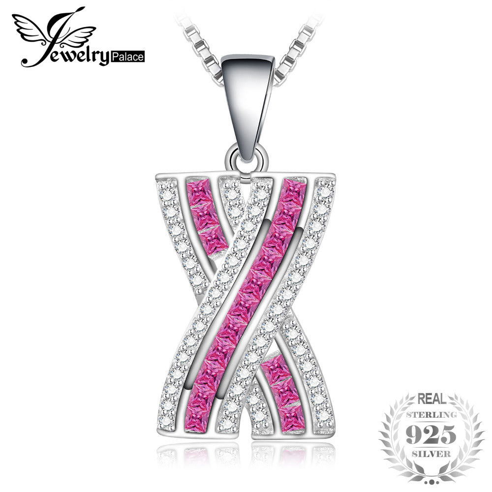 X Mark Princess Cut Created Pink Sapphire Pendant Necklace 925 Sterling Silver 18 Inches Box Chain Gift