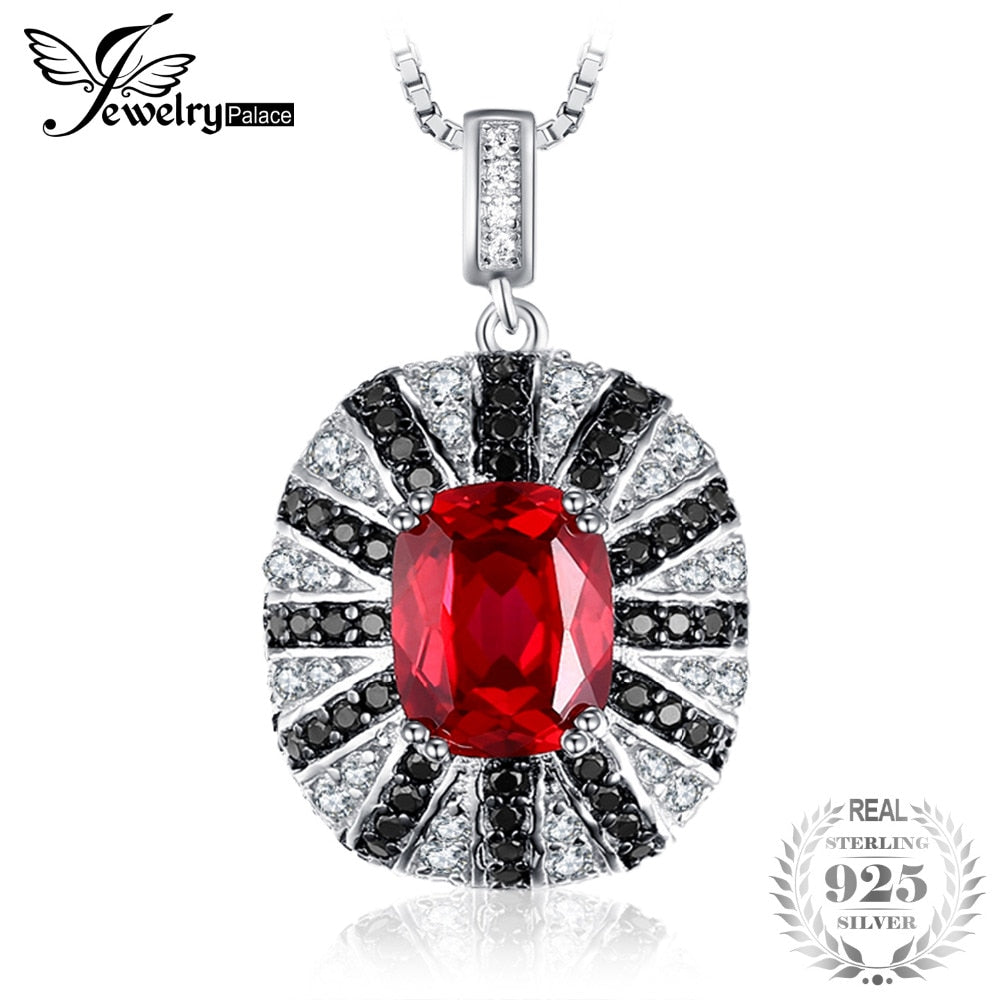 Luxury 6ct Created Red Ruby Natural Black Spinel Solid 925 Sterling Silver Pendant Necklace 45cm 2018 Fashion