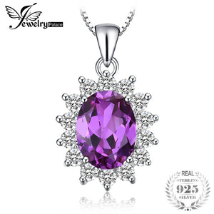 Princess Diana William Kate Middleton's 3.2ct Created Alexandrite Sapphire Pendant 925 Sterling Silver Chain 45cm