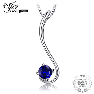 Simple 0.6ct Created Blue Sapphire Solitaire Pendant Chain Necklaces For Women Genuine 925 Sterling Silver Jewelry
