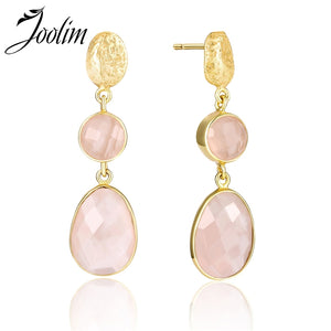 Pink Quartz Drop Earring 925 Sterling Silver Earring High End Designer Jewelry