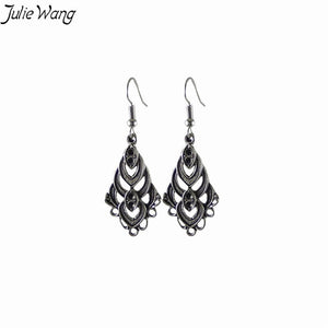1pair/pack Ancient Silver Creative Ear Hook Geometric Openwork Drop Earrings Anniversary Souvenir For Girl Lady Women