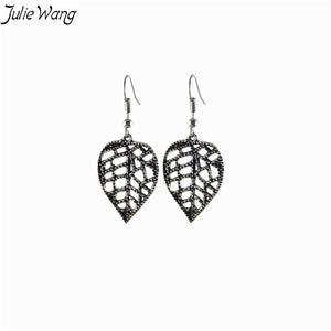 1pair/pack Ancient Silver Ear Hook Earrings Natural Pastoral Style Plant Series Leaf Openwork For Lady Women Present