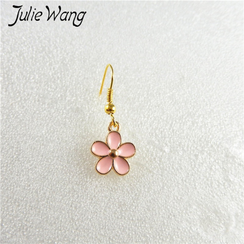 1pair/pack Pink Drip Ear Hook Earrings Sweet Lovely Cute Romantic Style Small Flower Shape For Girl Birthd Present