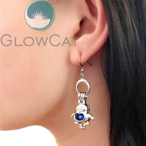 KE599 Penguin Dangle Earrings Beads Cage Perfume Essential Oil Diffuser Stone Pearl Cage Locket Drop Earring