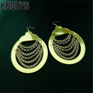 Fashion Jewelry Acrylic DS DJ Gold Drop Earring Pendientes HipHop Tassel Super Large Earrings for Women Oorbellen Brincos