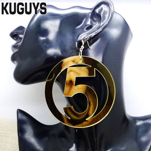 Fashion Jewelry Oorbellen Acrylic HipHop Large Earrings for Women Pendientes Gold NO5 Round Drop Earring DJ DS Brincos