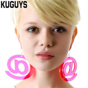 Fashion Jewelry Oorbellen Acrylic Neon Hot Pink Round Earrings for Women Pendientes HipHop Big Drop Earring DJ DS Brincos