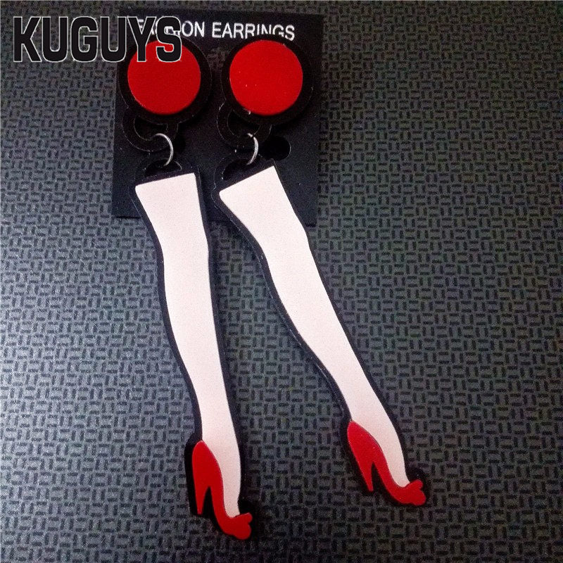 Jewelry Acrylic Sexy Leg Long Earrings for Women Pendientes HipHop High Heels Drop Earring Woman Brincos