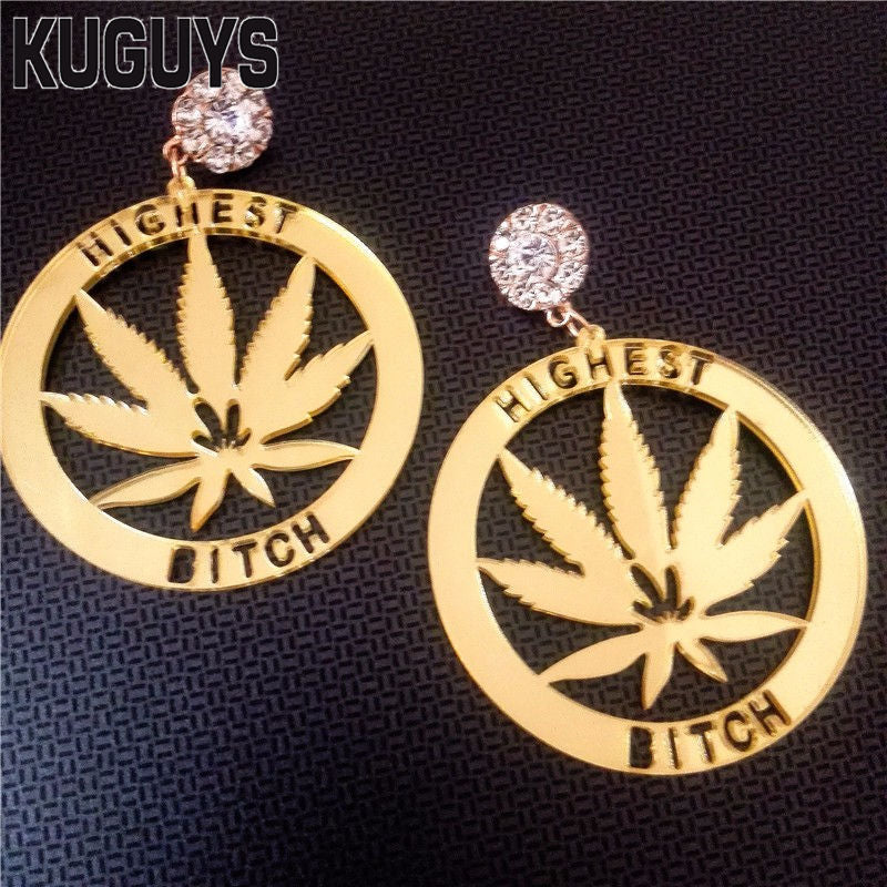 Jewelry for Womens Brincos Gold Acrylic Round Earrings Fashion Oorbellen Highest Bitch HipHop Dangle Earring Pendientes