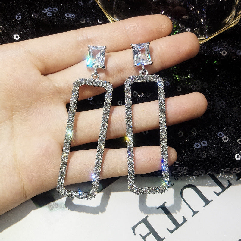 Korean 2018 New Fashion Rhinestone Rectangle Long Earrings Temperament Personality Women Exaggerated Jewelry Cubic Zirconia Gift