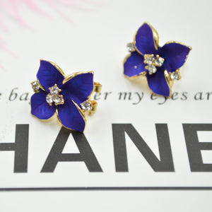 Korean Gold Color Rhinestones Crystal Vintage Four Leaf Clover Flower Gold-color Bohemia Stud Earrings Fashion Jewelry