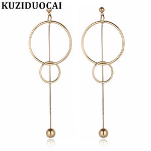 2018 New Fashion Fine Jewelry Titanium Stainless Steel Ball Circular Circle Tassel Stud Earrings For Women Gift E-625