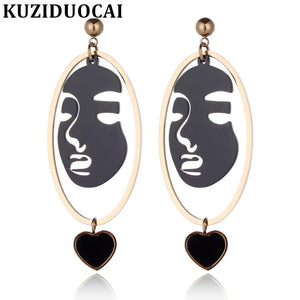 2018 New Fashion Fine Jewelry Titanium Stainless Steel Human Face Geometry Love Heart Stud Earrings For Women E-620