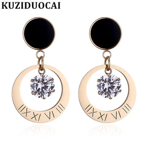 2018 New ! Fashion Fine Jewelry Titanium Stainless Steel Zircon Round Concise Noble Stud Earrings For Women E-1229