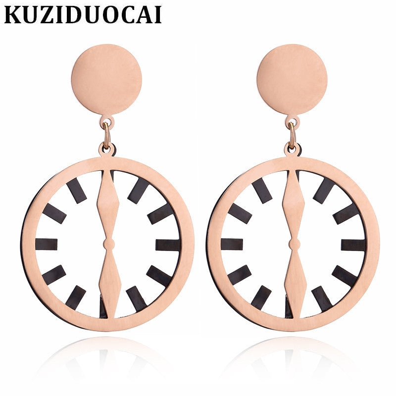 2018 New ! Fashion Fine Noble Jewelry Titanium Stainless Steel Metal Plate Clock Shape Stud Earrings For Women E-170